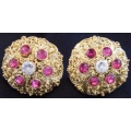 Subeng Emas Model 9 (brass earrings with artificial diamonds)