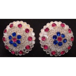 Subeng Perak Multi-coloured (brass earrings with artificial diamonds)
