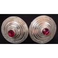 Subeng Perak Spiral Besar Batu Merah Muda (brass earrings with artificial diamonds)