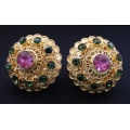 Subeng Emas Multi-coloured (brass earrings with artificial diamonds)